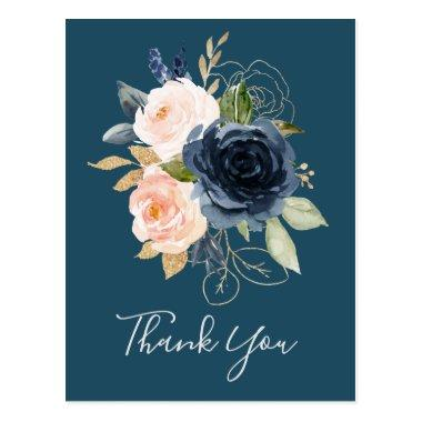 Blush and Navy Flowers | Blue Thank You PostInvitations