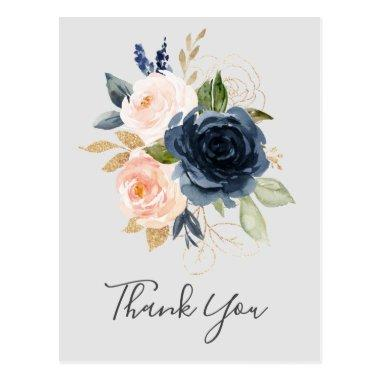 Blush and Navy Flowers | Grey Thank You PostInvitations