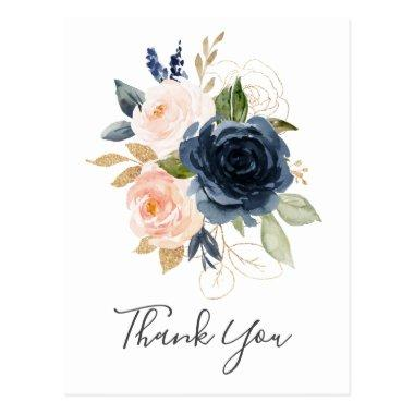 Blush and Navy Flowers | White Thank You PostInvitations