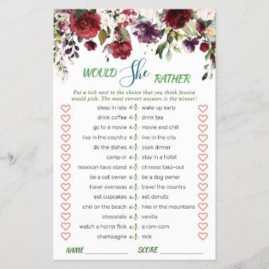 Blush Burgundy Watercolor Bloom Bridal Shower Game