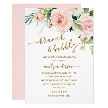 Blush Floral Brunch And Bubbly Bridal Shower Invitations
