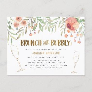 Blush Floral & Gold Brunch & Bubbly Bridal Shower Invitation PostInvitations