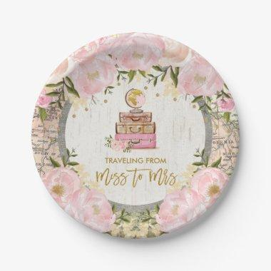 Blush Floral Traveling from Miss to Mrs Shower Paper Plate