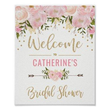 Blush Gold Floral Bridal Shower Welcome Sign Decor