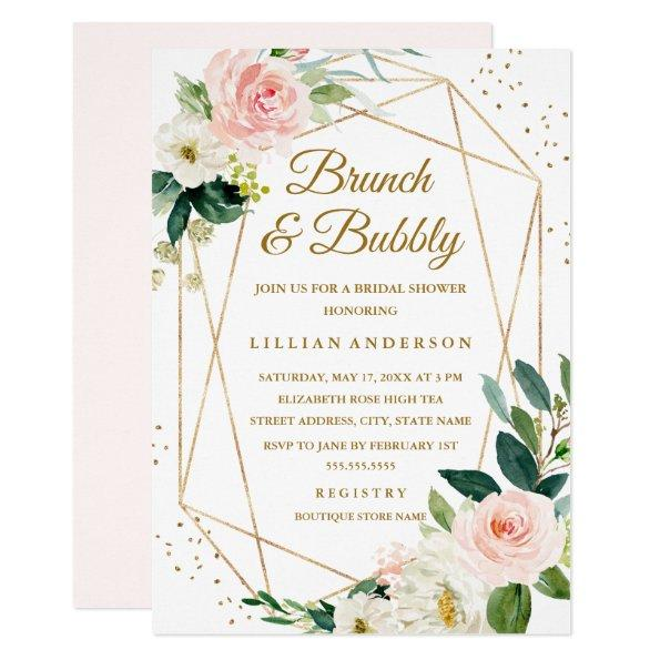 Blush Gold Floral Brunch And Bubbly Bridal Shower Invitations