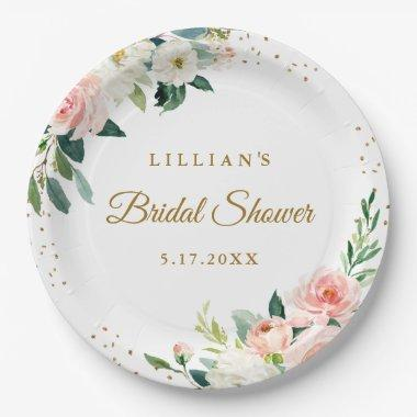 Blush Gold Floral Brunch And Bubbly Paper Plate