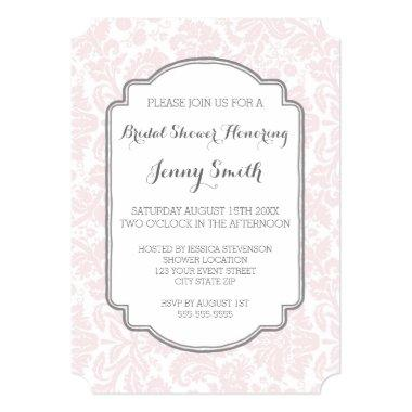 Blush Grey Damask  Invitation