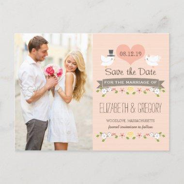 BLUSH LOVE BIRDS DOVE SAVE THE DATE ANNOUNCEMENT POST