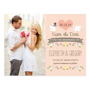 BLUSH LOVE BIRDS DOVE SAVE THE DATE POST