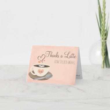 9221ccae028 Blush Monogrammed Heart Coffee Cup Bridal Shower Invitations ...