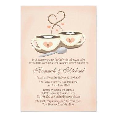 Blush Monogrammed Coffee Cup Heart Couples Shower