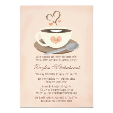 Blush Monogrammed Heart Coffee Cup Bridal Shower Invitations