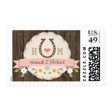 Blush Monogrammed Horseshoe Wedding Postage