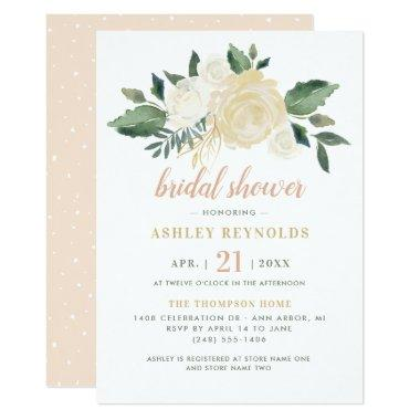 Blush Neutral Blooms Floral Bridal Shower Invitations