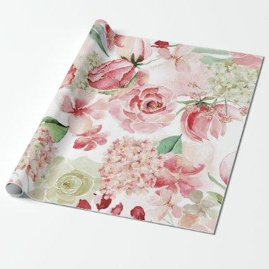 Blush & Peach Watercolor Floral Pattern Wedding Wrapping Paper