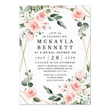 Blush Pink and Gold Floral Greenery Bridal Shower Invitations