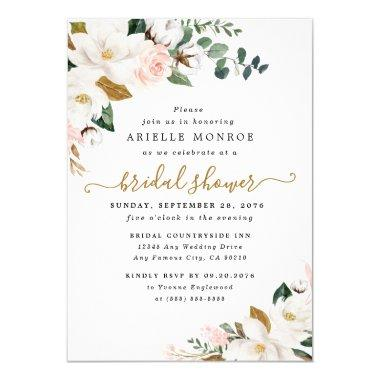 Blush Pink and White Magnolia Floral Bridal Shower Invitations