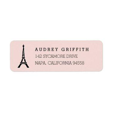 Blush Pink Eiffel Tower Return Address Label
