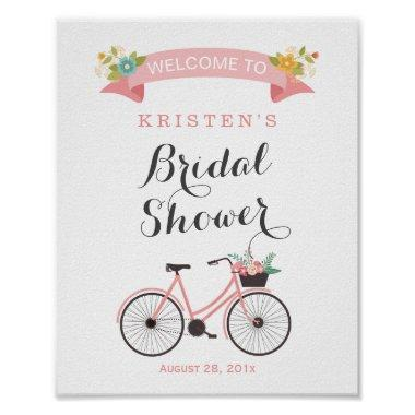 Blush Pink Floral Bicycle Bridal Shower Sign Poster
