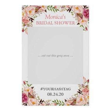Blush Pink Floral Elegant Bridal Shower Photo Prop Poster