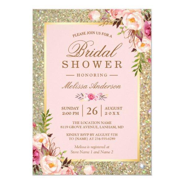 Blush Pink Floral Gold Sparkles