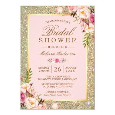 Blush Pink Floral Gold Sparkles Bridal Shower Invitations
