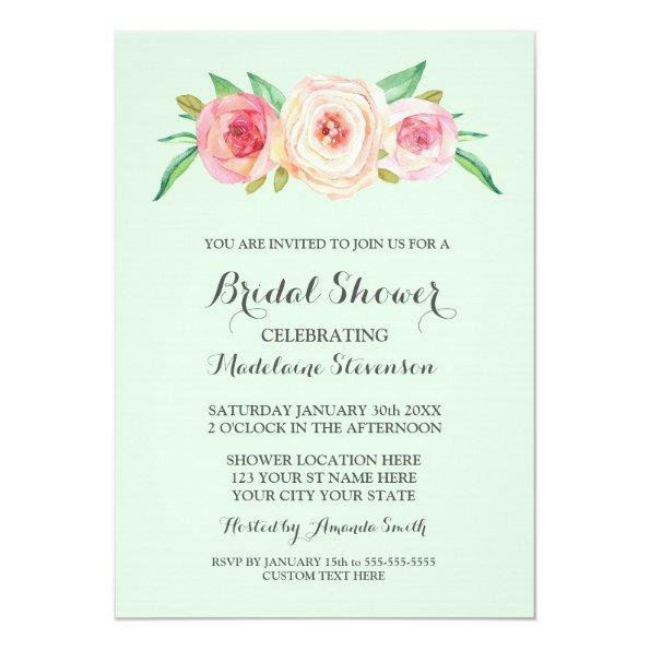 Blush Pink Floral Mint Green Bridal Shower Invitations
