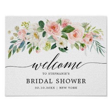 Blush Pink Florals Botanical Bridal Shower Welcome Poster