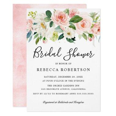 Blush Pink Florals Modern Botanical Bridal Shower Invitations