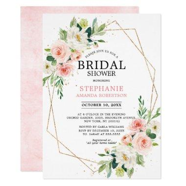 Blush Pink Florals Modern Geometric Bridal Shower Invitations