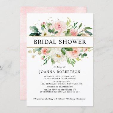 Blush Pink Florals Modern Gold Bridal Shower Invitations