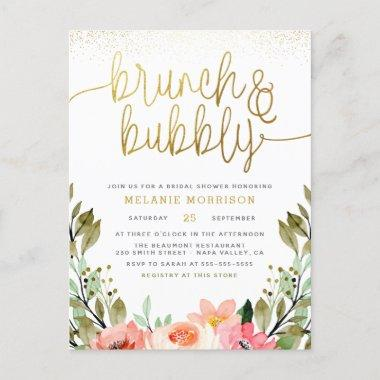 Blush Pink & Gold Brunch & Bubbly Bridal Shower Invitation PostInvitations