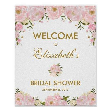 Blush Pink Gold Floral Bridal Shower Welcome Sign