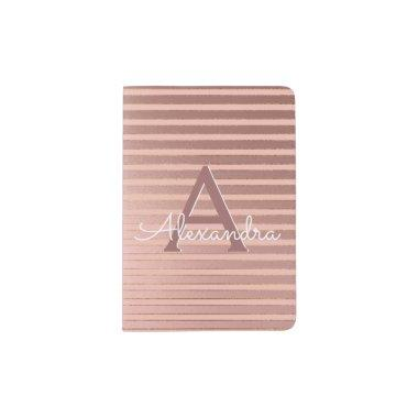 Blush Pink & Gold Foil Stripes Girly Monogram Name Passport Holder