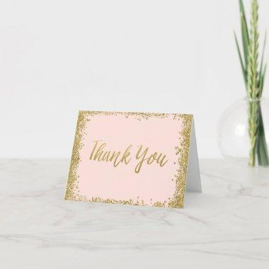 Blush Pink Gold Glitter Thank You