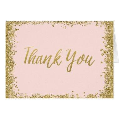 Blush Pink Gold Glitter Thank You Invitations