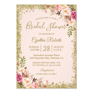 Blush Pink Gold Glitters Floral