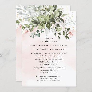 Blush Pink Gold Greenery Dusty Blue Bridal Shower Invitations