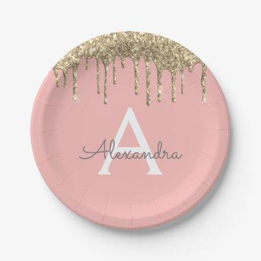 Blush Pink Gold Sparkly Glitter Monogram Birthday Paper Plate