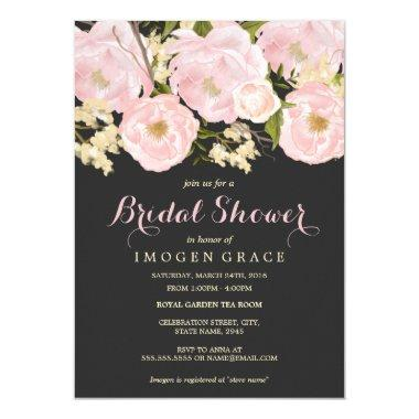 Blush Pink & Gray Floral  Invite