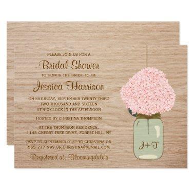 Blush Pink Hydrangea & Mason Jar