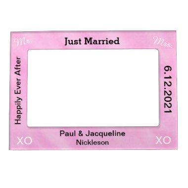 Blush Pink Just Married Wedding Magnetic Frames