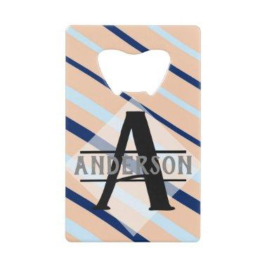 Blush Pink Navy Blue Monogram Credit Invitations Bottle Opener