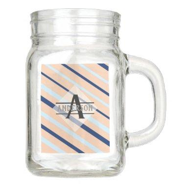 Blush Pink Navy Blue Monogram Mason Jar