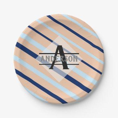 Blush Pink Navy Blue Monogram Paper Plate