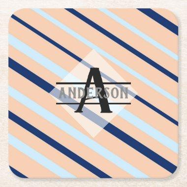 Blush Pink Navy Blue Monogram Square Paper Coaster