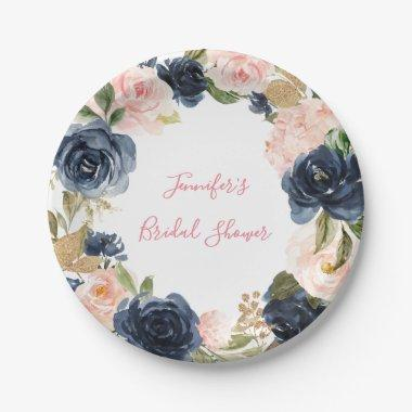 Blush Pink | Navy Floral Wreath Bridal Shower Paper Plate