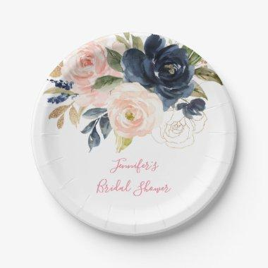 Blush Pink | Navy Watercolor Floral Bridal Shower Paper Plate