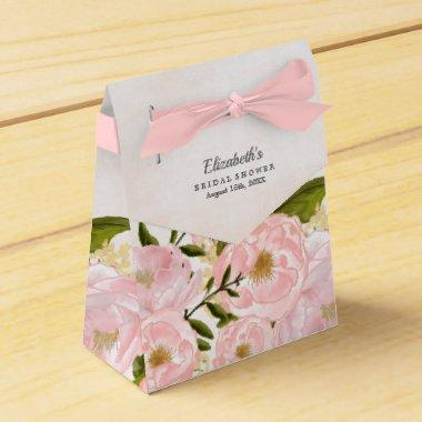 Blush Pink Peonies Bridal Shower Favor Boxes