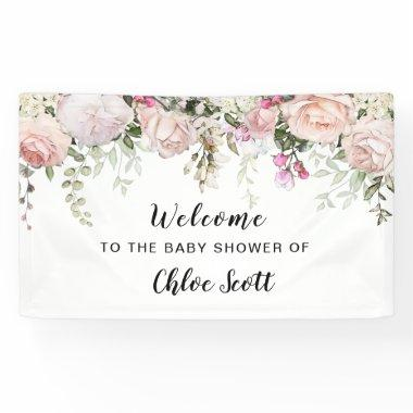 Blush Pink Rose Floral Baby Shower Welcome Banner
